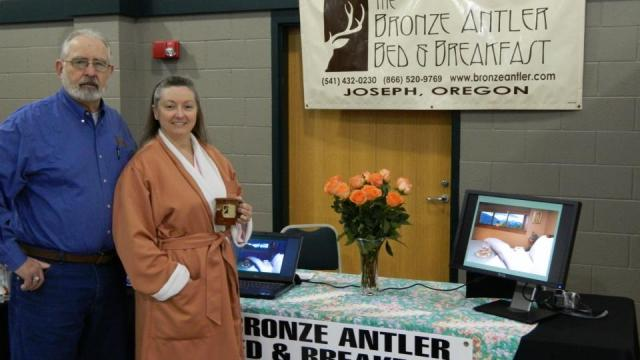 Bronze Antler Bed and Breakfast Innkeepers at the Northeast Oregon Bridal Show in LaGrande Oregon
