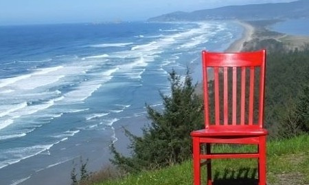 Red Chair on the Oregon Coast