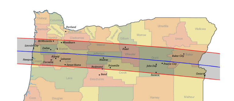 Oregon Eclipse Map 2017.Total Solar Eclipse 2017 Where To Be In Oregon