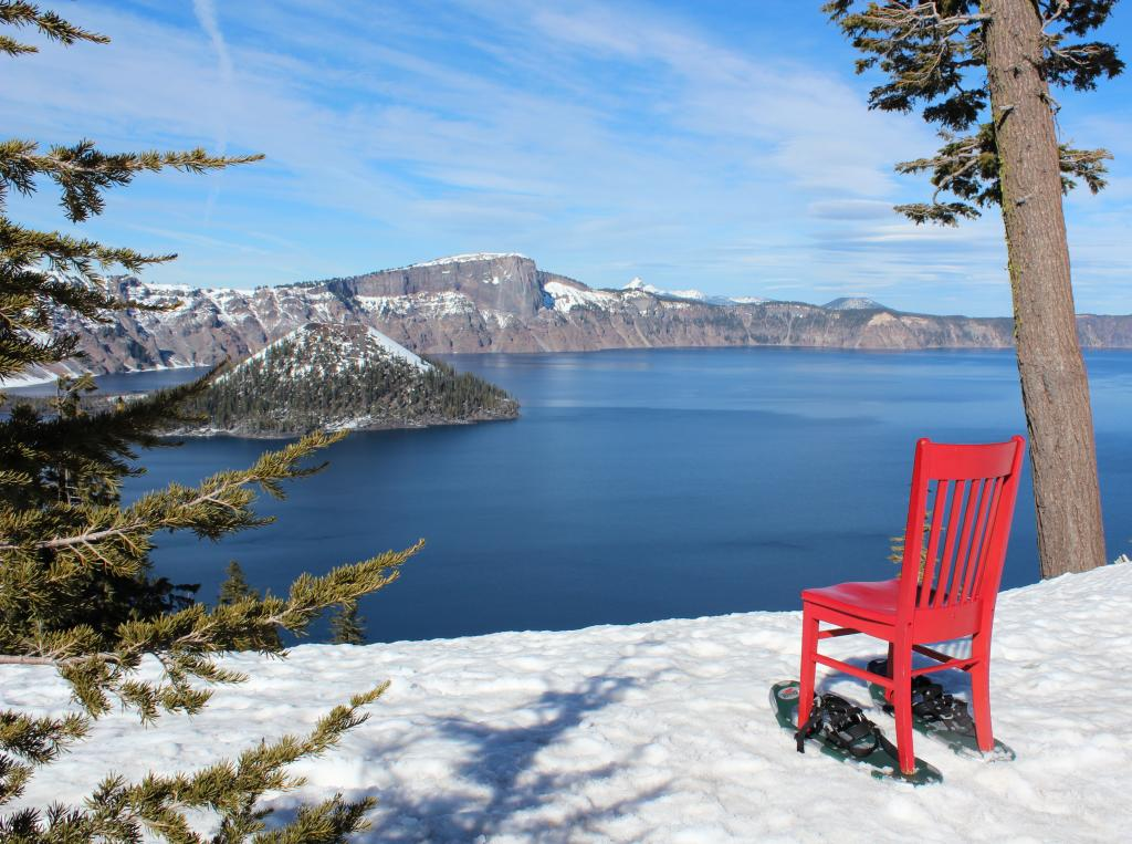 Red Chair got a chance to snow shoe up to iconic Crater Lake.